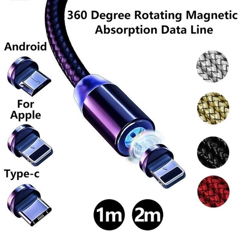 Magnético USB-C tipo C/IOS/Micro USB 360 redondo Cable cargador rápido Cable de...