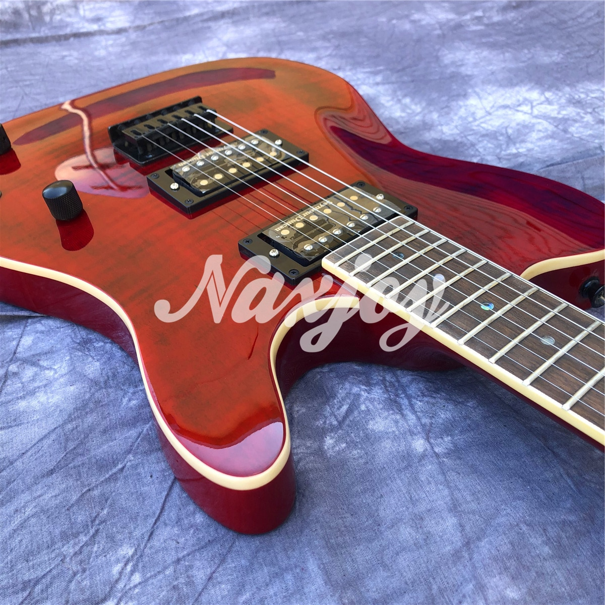 Red Flame Maple Top  6 Strings TL Electric Guitar with Solid Wood Body enlarge