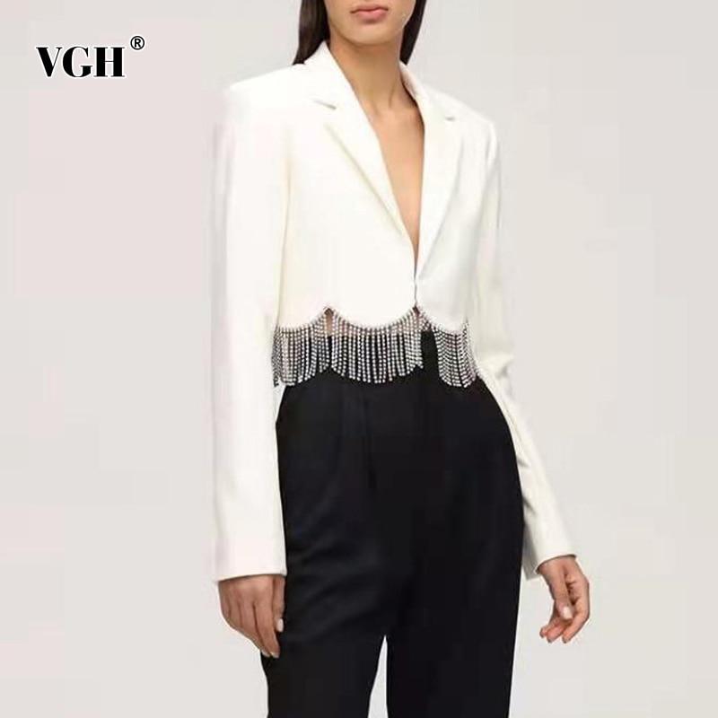 سترات نسائية بيضاء ضيقة ماركة VGH كورية ذات أكمام طويلة مزينة بقطع قماش مختلفة ملابس لفصل الربيع 2021