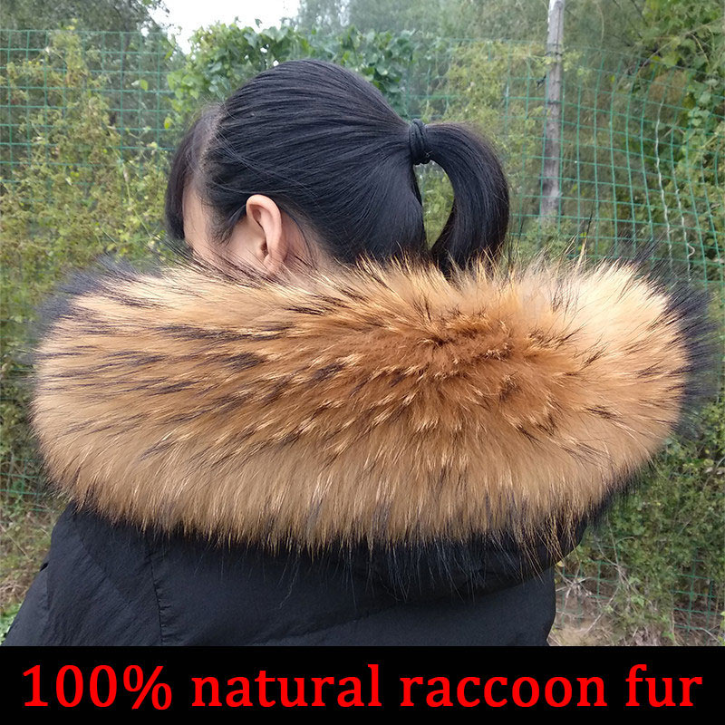 Cllikko 100% Real Fur Collar For Parkas Coats luxury Warm Natural Raccoon Scarf Women Large Fur Coll