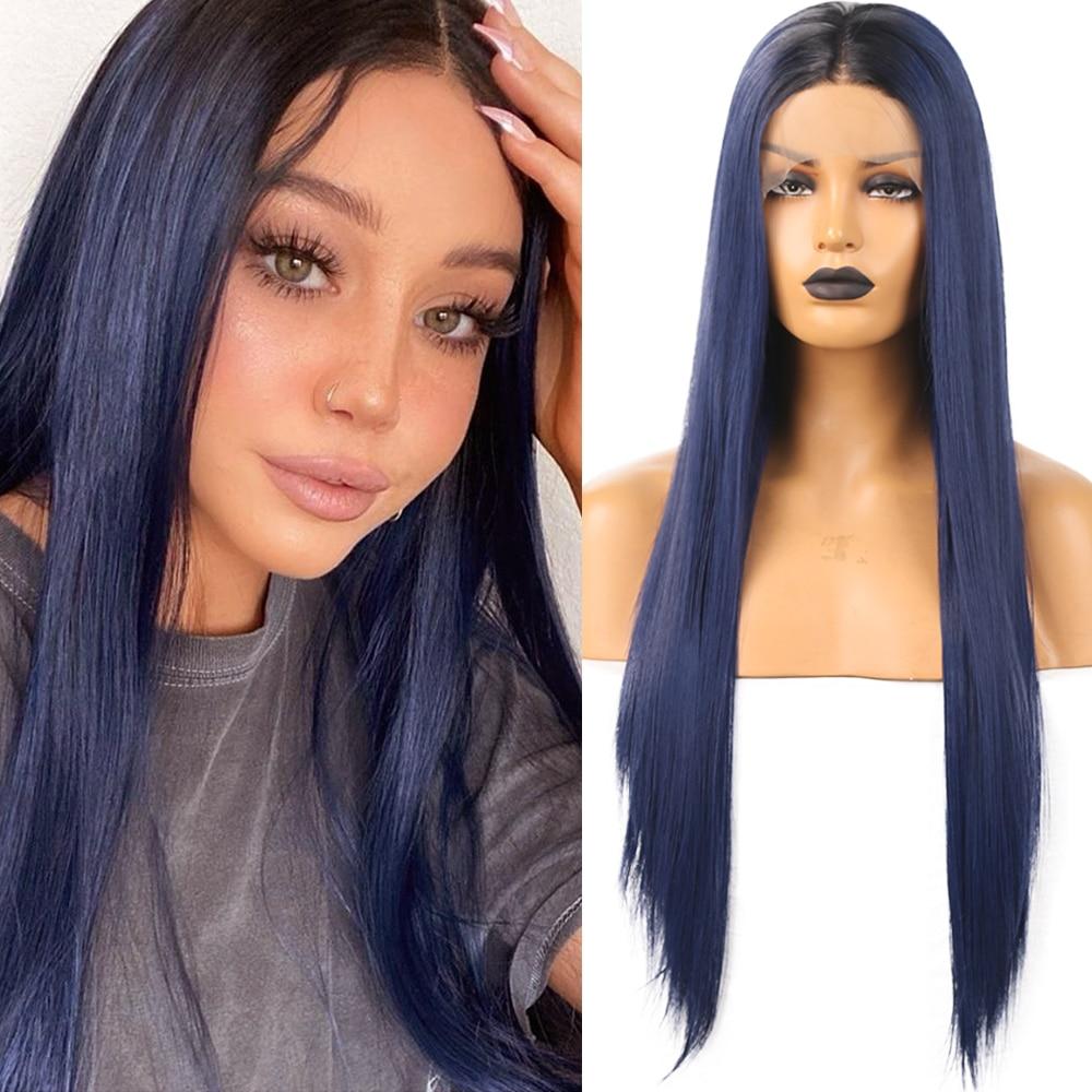 fanxiton peruca reta ombre azul peruca dianteira do laco sintetico com parte do meio