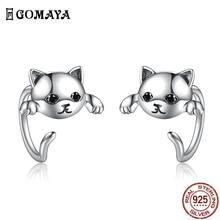 GOMAYA Genuine 925 Sterling Silver Minimalist Cute Tail Stud Earrings For Women Animal Anniversary F