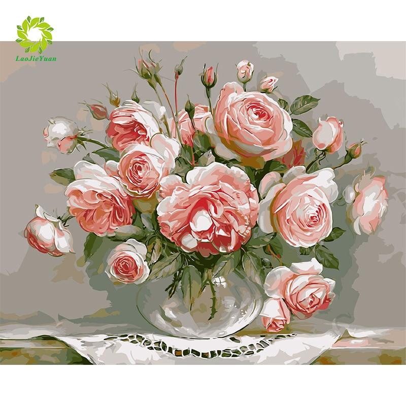 Cuadro de flores de diamante SNA DIY, jarrón de bordado de diamantes redondo de guijarro cuadrado completo, Kit de arte mosaico para decoración del hogar