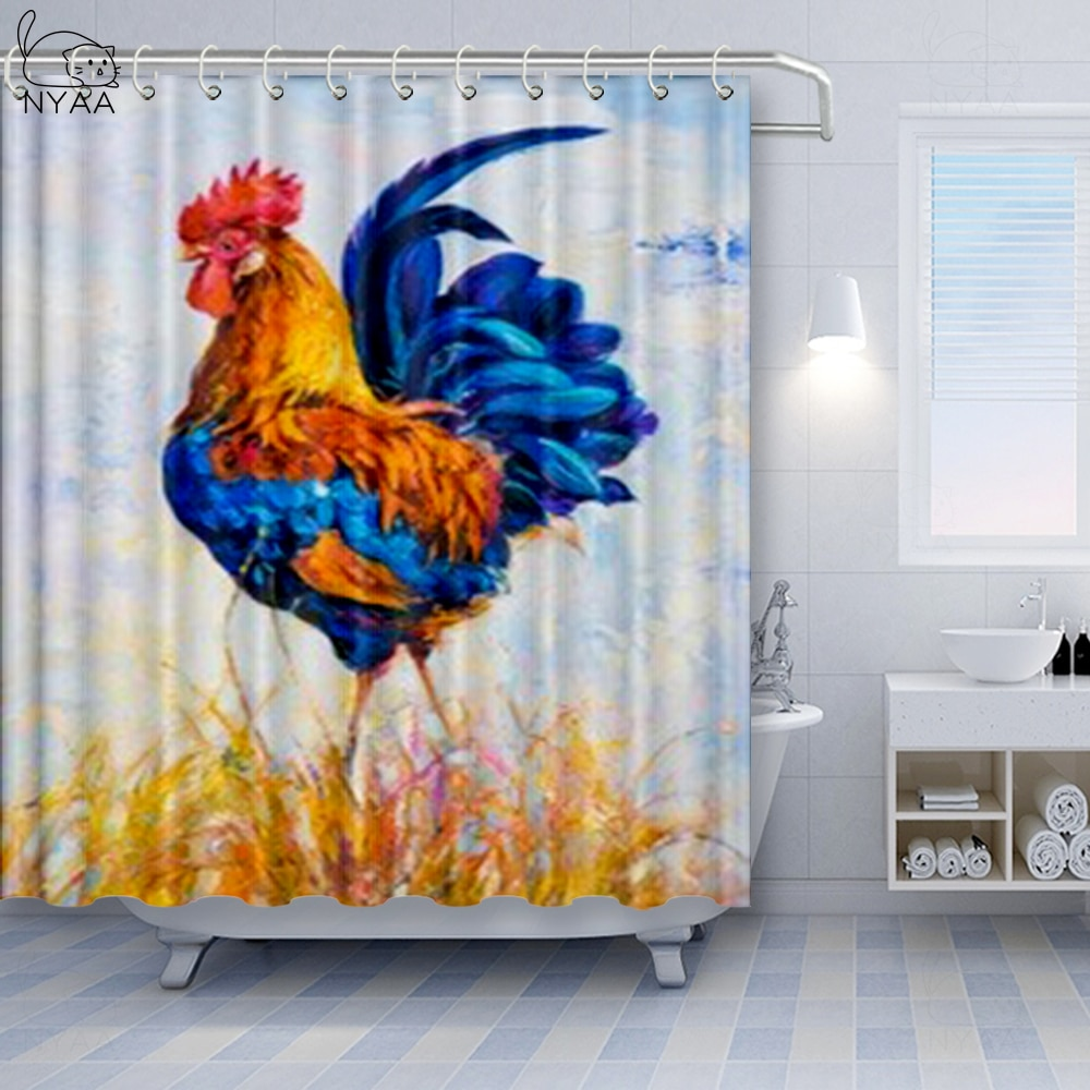 Galo cortina de chuveiro polonês folk banheiro cortina de chuveiro poliéster tecido banho decoração com ganchos à prova dwaterproof água cortina de ducha