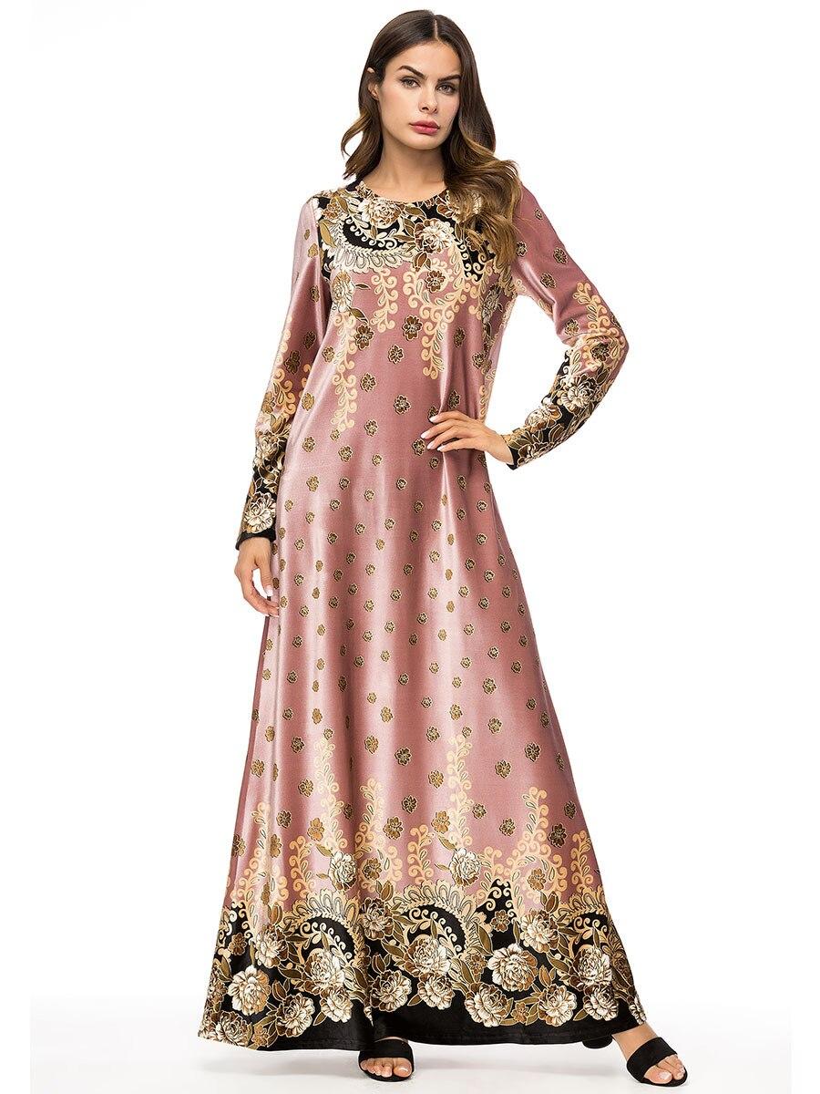 Nuevas mujeres musulmanas de manga larga impreso Dubai Hijab Maxi vestido árabe Kaftan Abaya modesta islámica Turquía Kimono vestidos SL1503