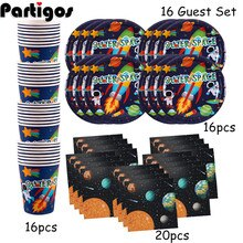 52 Pcs Outer Space Zonnestelsel Planeet Galaxy Party 16 Gast Kids Verjaardagsfeestje Wegwerp Servies Papieren Borden Cups Servetten