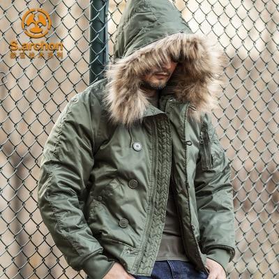 2021 зимнее N2B мужской пуховик Канадское пальто военный меховой капюшон Теплый Тренч камуфляжная тактическая куртка-бомбер армейская Корейс...