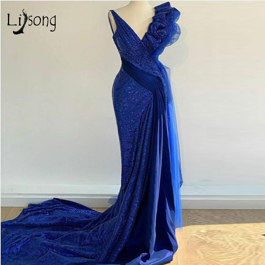 Elegante azul real lantejoulas sereia vestidos de baile babados tutu longo vestidos de baile imagem real moda formal festa vestido
