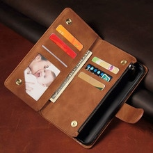Leather Wallet For Oukitel C18 Pro Case Magnetic Zipper Wallet Mobile Retro Wallet Flip Card Stand F