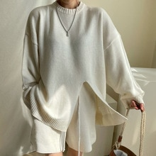 2021 Autumn Winter New Fashion Women Two Piece Sets Solid Color Split Fork Round Neck Long Sleeve Si