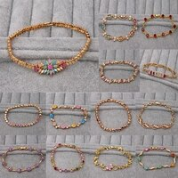 bohemia waterdrop stone zircon charm bracelets for women link chain hidden safety clasp bracelet fashion jewelry accessories