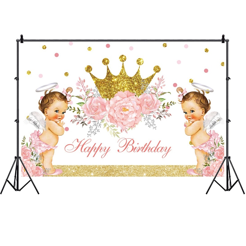 Crown Photo Backdrop Princess Flower Kids Baby Shower Happy Birthday Party Photograph Background Banner Decoration mehofoto baby shower photo backdrop for photography little princess newborn flower background gold crown birthday party booth