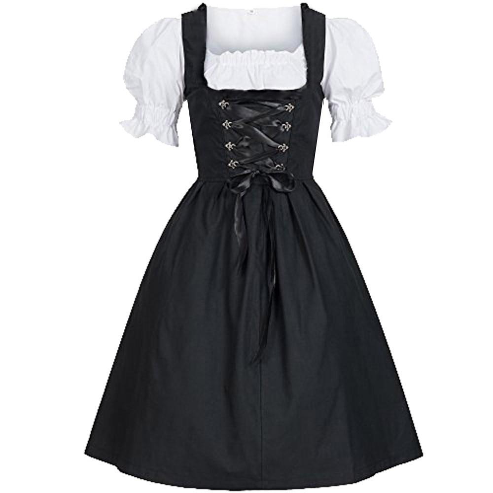 Disfraz tradicional alemán el Dirndl, vestido de Bávaro con delantal para mujer, traje de Oktoberfest, vestido de fiesta, doncella campesino