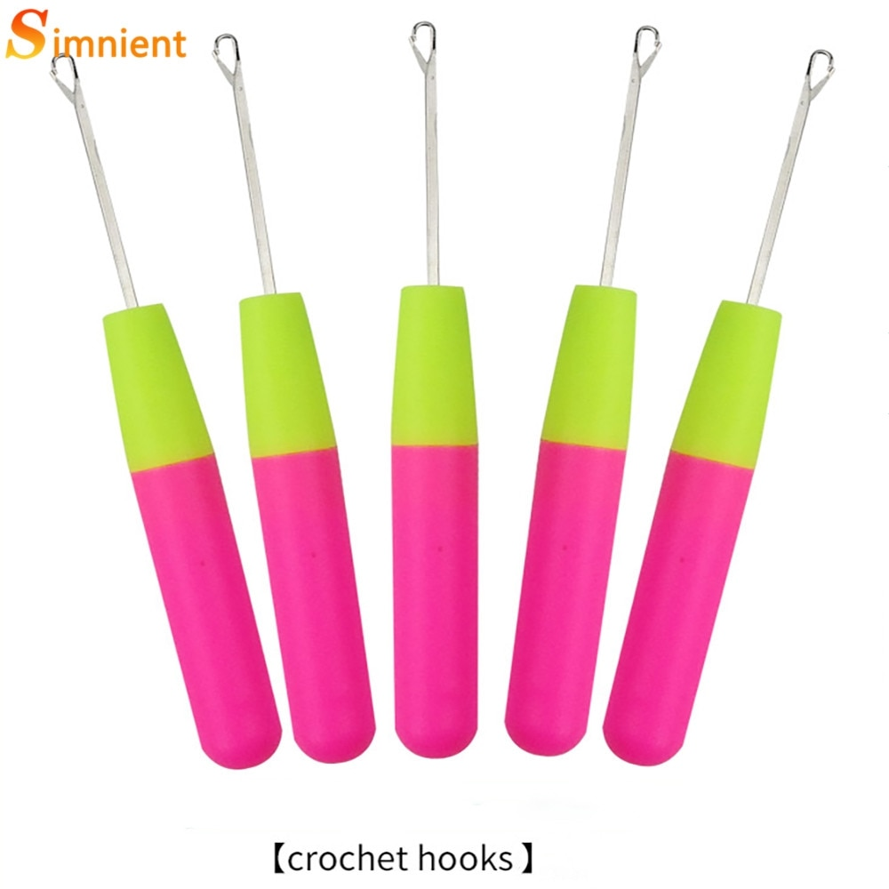 5pcs set latch hook crochet needle for wig braided wooden handle hair extension linking micro rings hook needle set styling tool 1-5pcs Plastic Handle Wig Hook Needle Large Hair Extension Hook Needleblack Human Wig Dirty Braid Special Hair Extension Crochet
