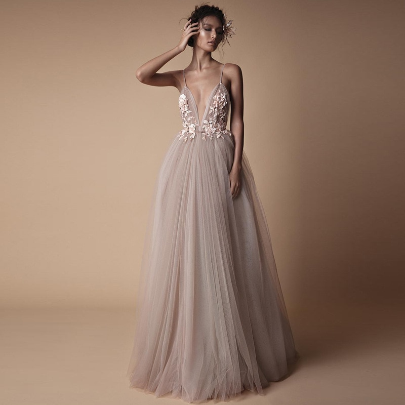 Sexy Tulle 2021 New Arrival Suspender Flower Blush Line Special Occasion Prom Dress Customization