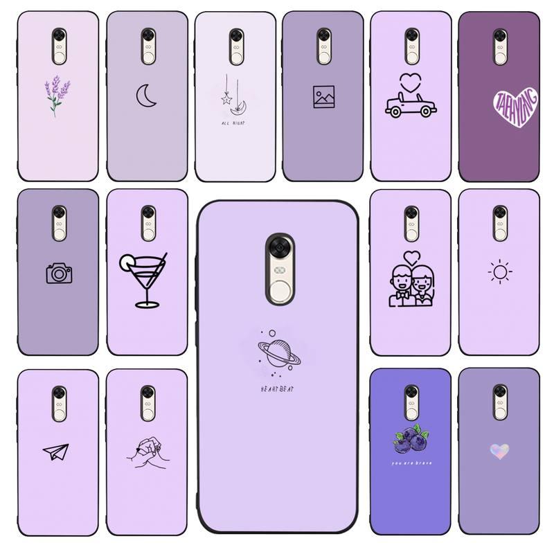 Maiyaca roxo padrão de fundo caso telefone para redmi 4x 5 plus 5 6 7 8 9 a 6pro go k20 capa