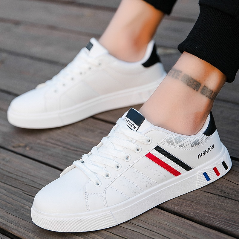 Boys school leather sneakers white stripe casual shoes men Non-slip skateboard shoes man sneakers