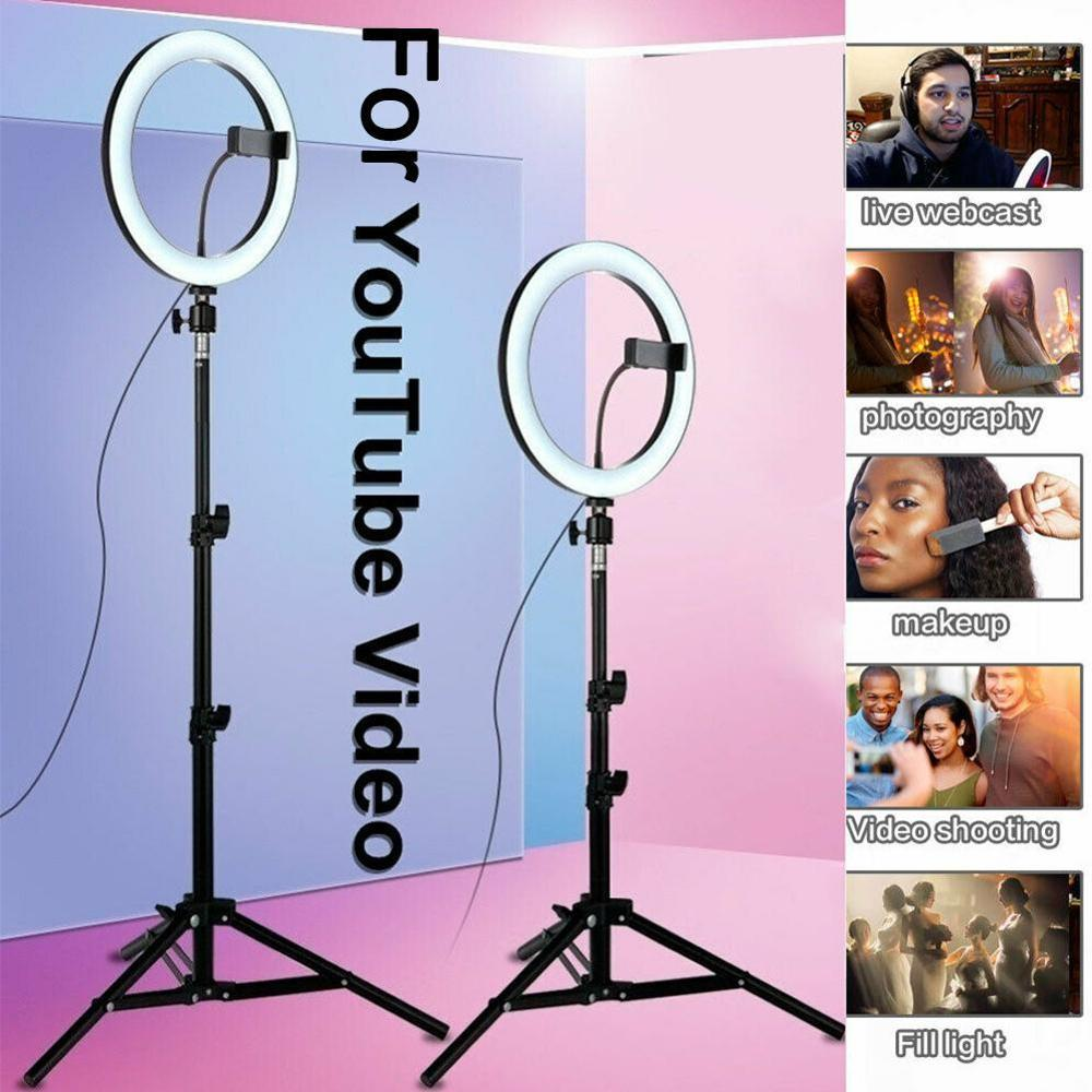 10 inch USB LED Light Ring Photography Flash Lamp Tripod Tik Video Youtube Dimmable Tok VK Lighting For Makeup Stand Z7J7