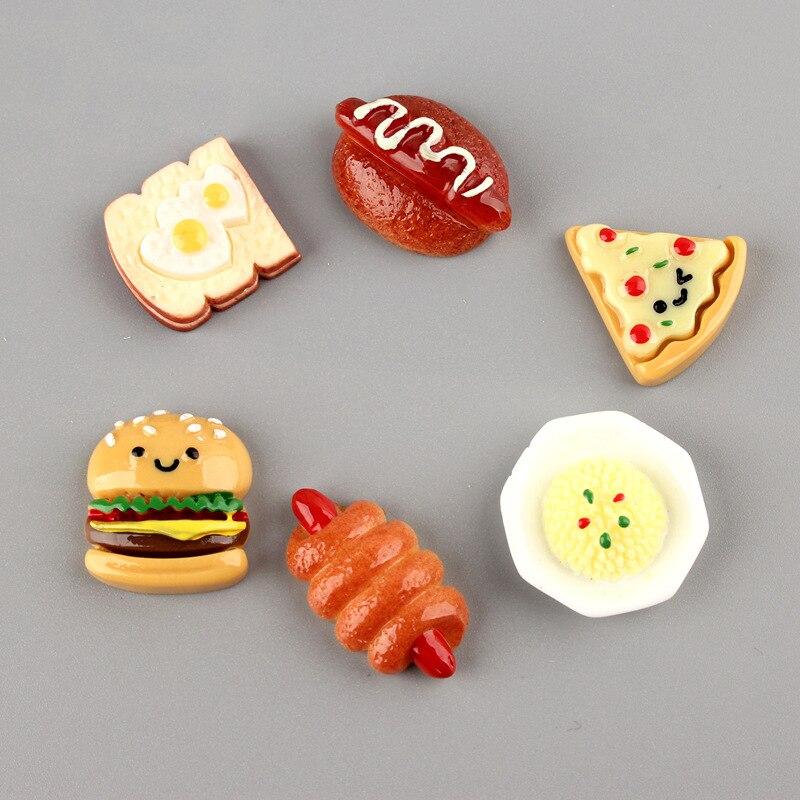 Material de accesorios de joyería DIY 40 piezas Kawaii cabujón resina hamburguesa pan de pizza de comida de simulación de plástico crema caja del teléfono