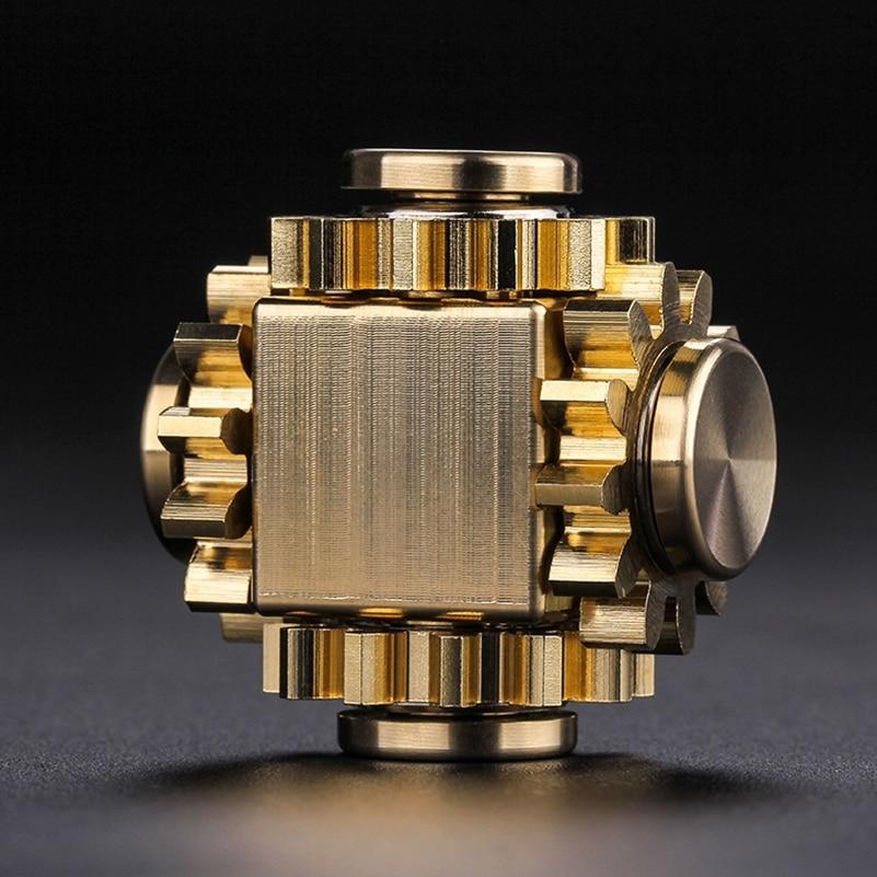 High top quality hand spinner Fingertip gyro gear cube fidget spinner finger copper mechanical gyro adult decompression EDC toys enlarge