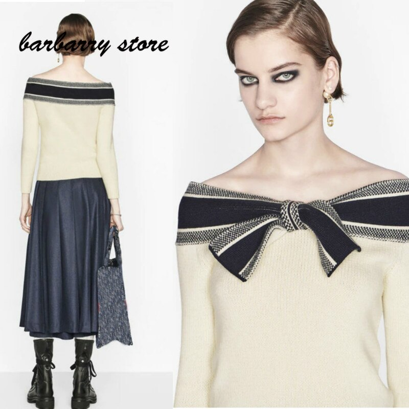 2021 luxury brand bow color matching printing fashion women's top temperament versatile Navy style leisure long sleeve Pullover