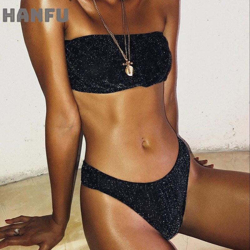Flash negro Sexy Bikini Bandeau traje De baño sin tirantes mujeres traje De baño Tanga Bikinis conjunto Maillot De baño traje De baño