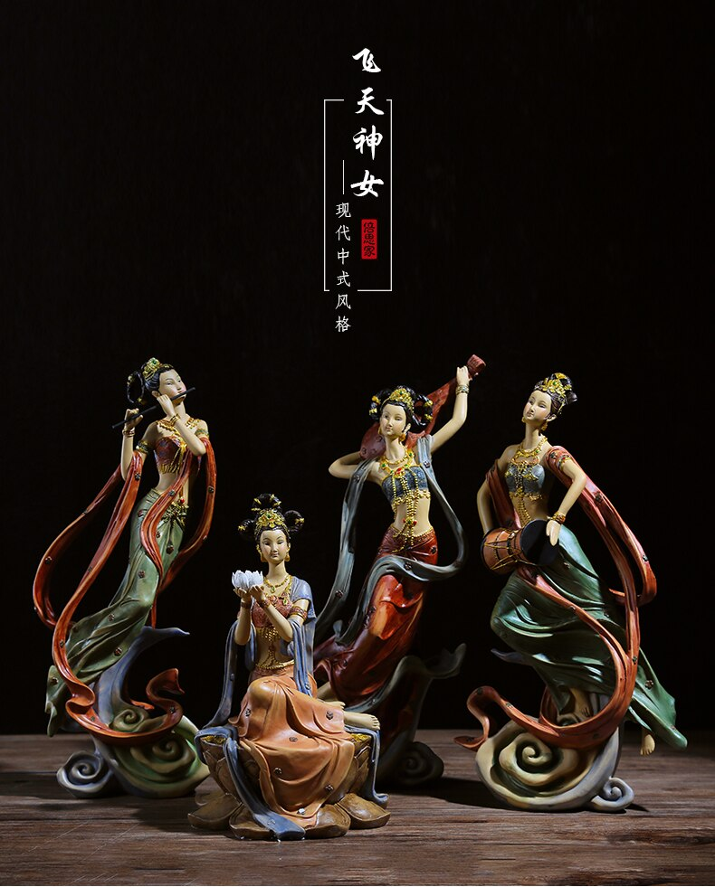 História oriental dunhuang feitian deusa ornamentos, novo estilo chinês corredor sala de estar rebote pipa fada