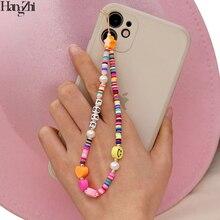 HangZhi 2021 nuovo cordino per cellulare cordino sorriso colorato perla corda in ceramica morbida per custodia per cellulare cavo appeso per donna