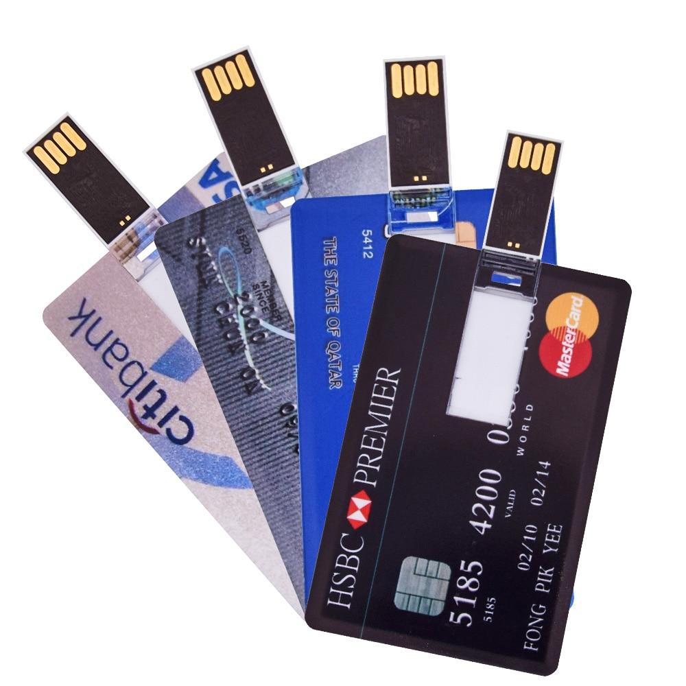 Personalizar logotipo Pendrive 4GB 8GB 16GB 32GB 64GB 128GB resistente al agua de memoria Flash superfino Usb Banco de Crédito tarjeta Flash disco