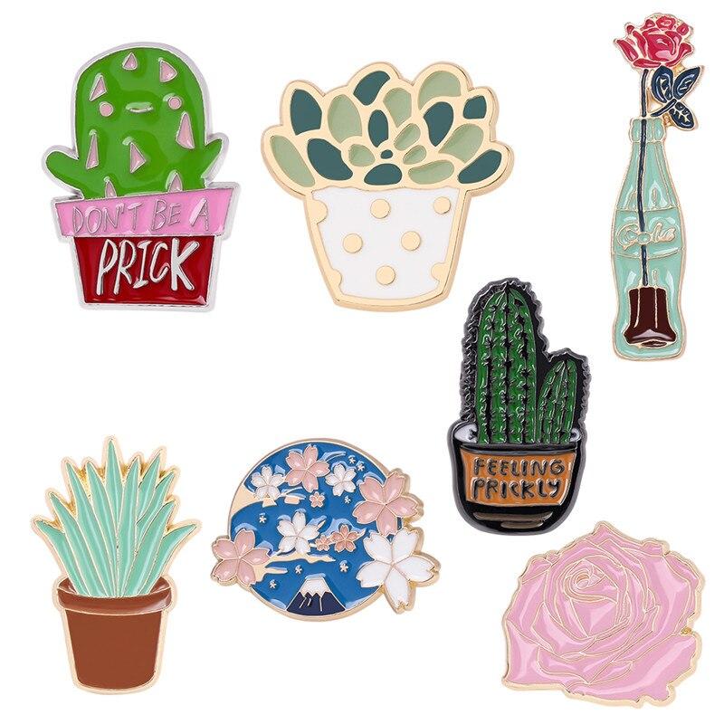 Cactus flor de cerezo Broches de Rosa carnoso Pins Chapas Broches Pins para bolsa ropa joyería alfileres esmaltados