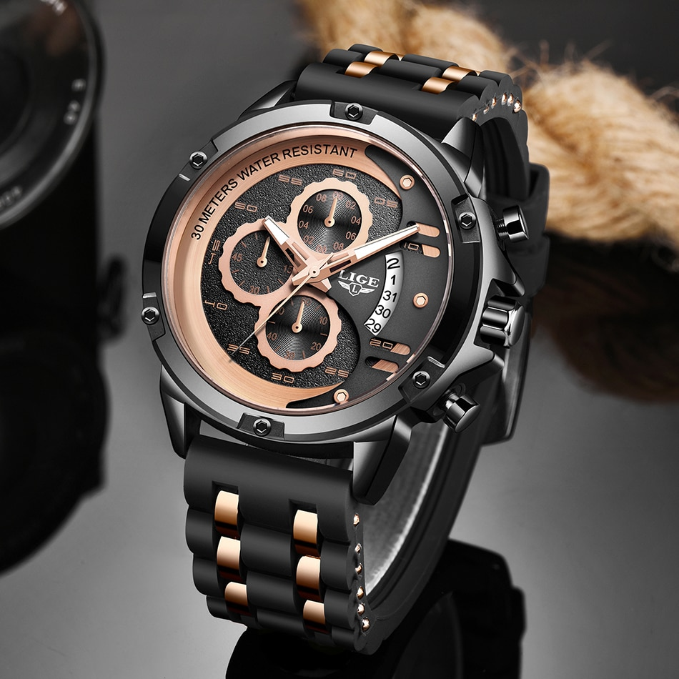 Lige relógios masculinos marca de luxo à prova dwaterproof água esporte relógio pulso cronógrafo quartzo militar couro genuíno relogio masculino