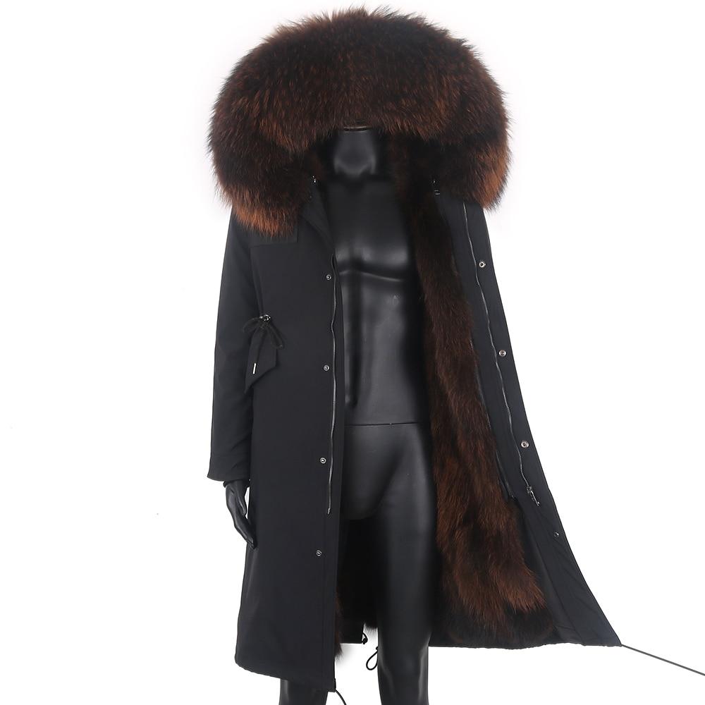 جديد 2021 سترة شتوية طويلة X-Long سترة رجالية من الفرو الطبيعي الراكون مع ياقة سميكة ودافئة ملابس خارجية معطف من فرو الثعلب الحقيقي