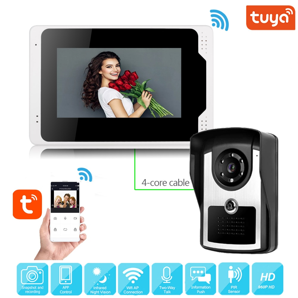 Video Door Bell 7 inch Wired Video Intercom System Tuya Smart WIFI Doorbell with 1080P Camera inhidaihd d110 24 melody wired doorbell white 3 x aa