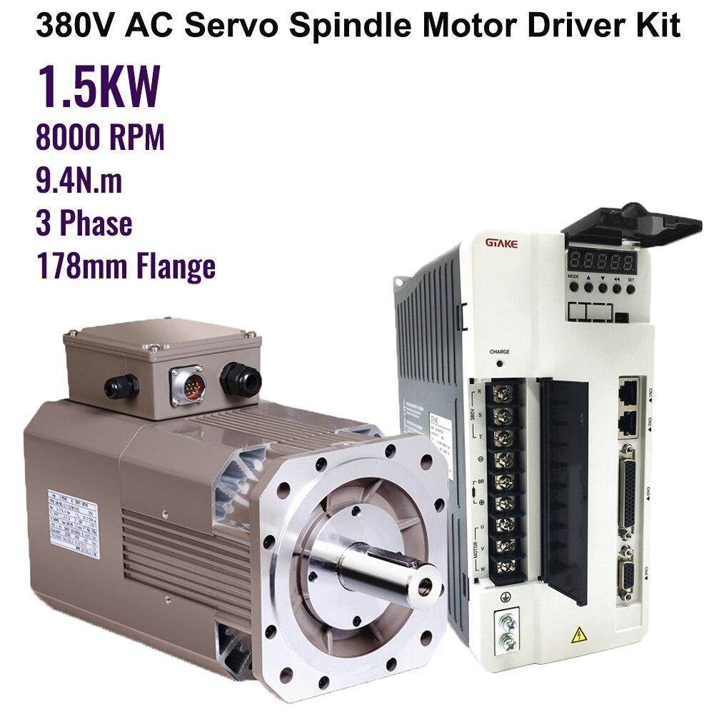 alta velocidade de 8000rpm 15kw 94nm ac servo motor de acionamento do eixo kits 2hp
