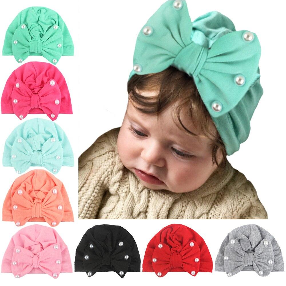1 peça lytwtw crianças bowknot pérola crianças arco boné chapéu do bebê recém-nascido meninas roupas acessórios infantil beanie turbante sólido