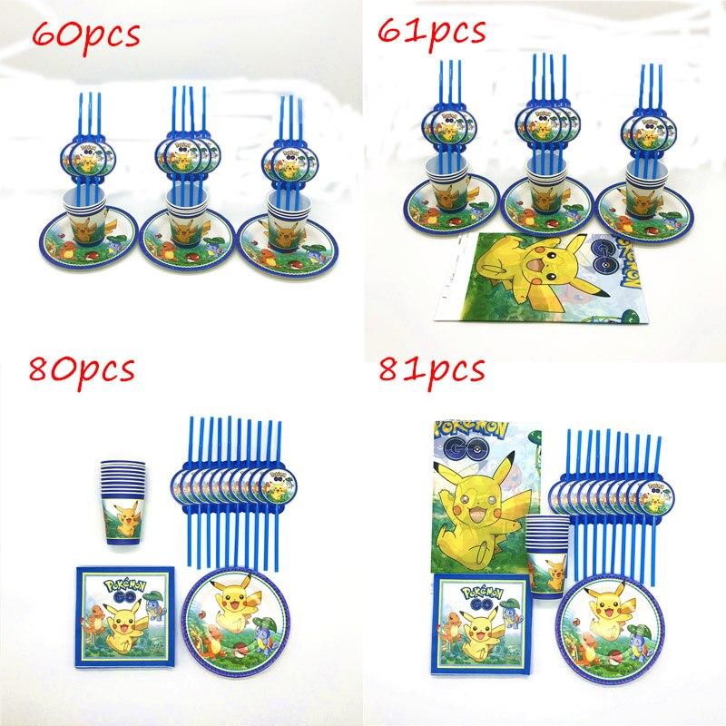 81 teile/los Pokemon Gehen Thema Geburtstag Party Dekoration Kinder Favor Einweg Baby Dusche Pikachu Tasse Platte Serviette Stroh Tischdecke