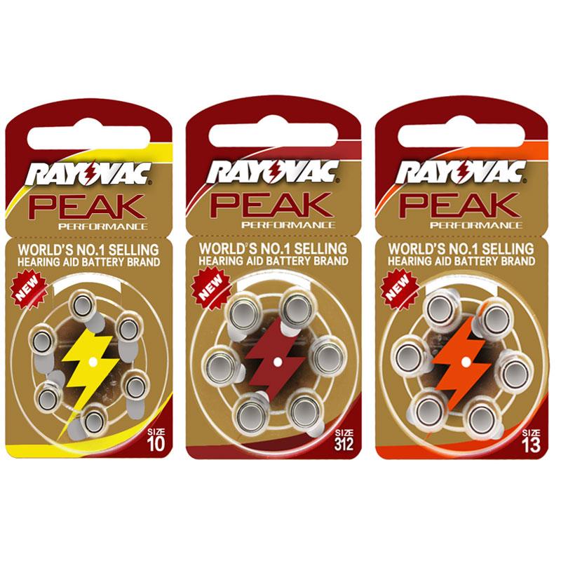 60 PCS RAYOVAC PEAK Zinc Air Hearing Aid Batteries A312 312A ZA312 312 PR41. A10 10A 10 PR70.13A A13