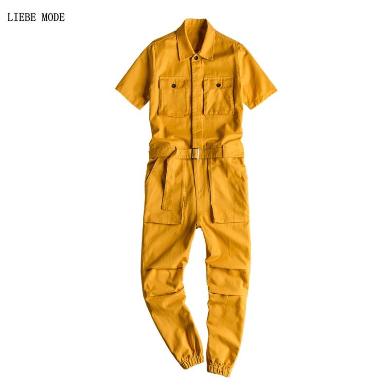 Мужской комбинезон с карманами и коротким рукавом в стиле хип-хоп, Свободный комбинезон с поясом, лето 2019