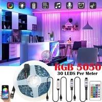 rgb smd 5050 led lights strip 5v usb bluetooth control 24 key flexible lamp decoration room tv background lighting luces string