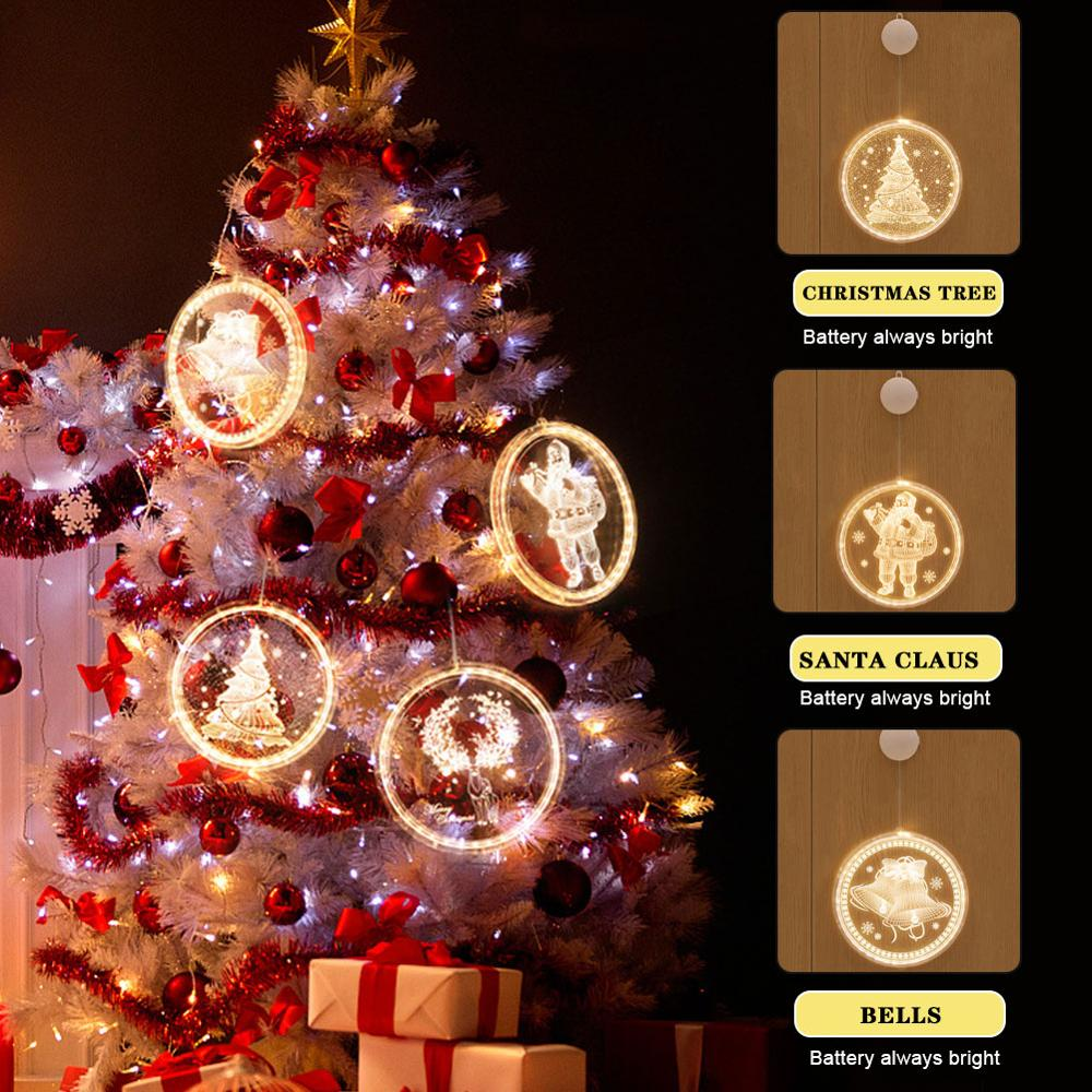 16cm LED Christmas Novelty Light Hanging Christmas 3D Lights with Suction Cup Indoor Windows Christmas Decorations for Home