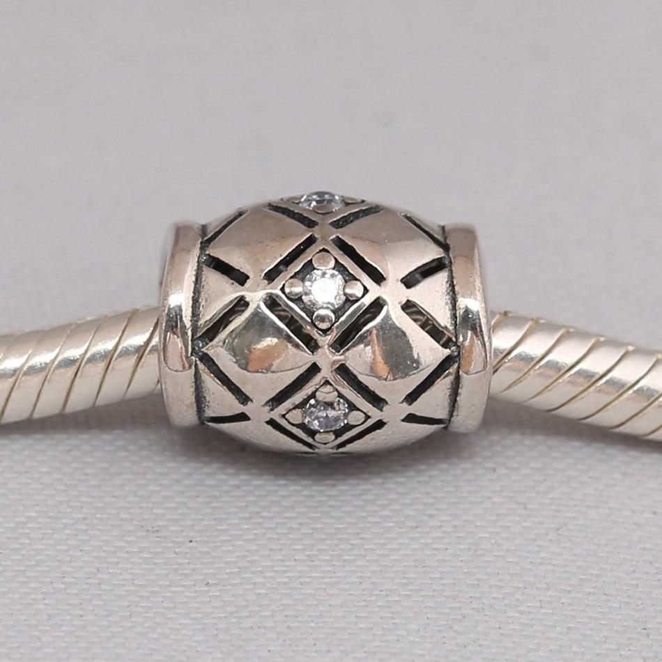 Autêntico s925 grânulo a céu aberto cz string charme apto senhora pulseira pulseira jóias diy