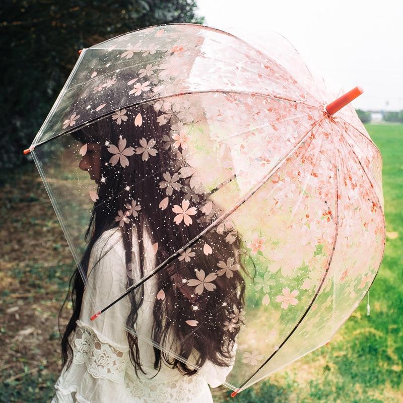 Зонты сакуры прозрачные зонты для птичьей клетки Мультяшные строительные Зонты полуавтоматический городской зонтик зонты с длинной ручко...