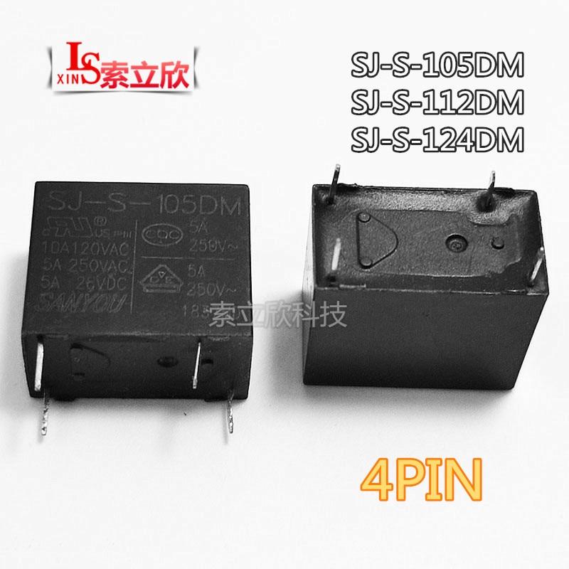 10 PCS/lot NOUVEAU Relais SJ-S-105DM SJ-S-112DM SJ-S-124DM SJS112DM SJ S 105DM 5VDC 12VDC 24VDC 5A 4PIN 250VAC