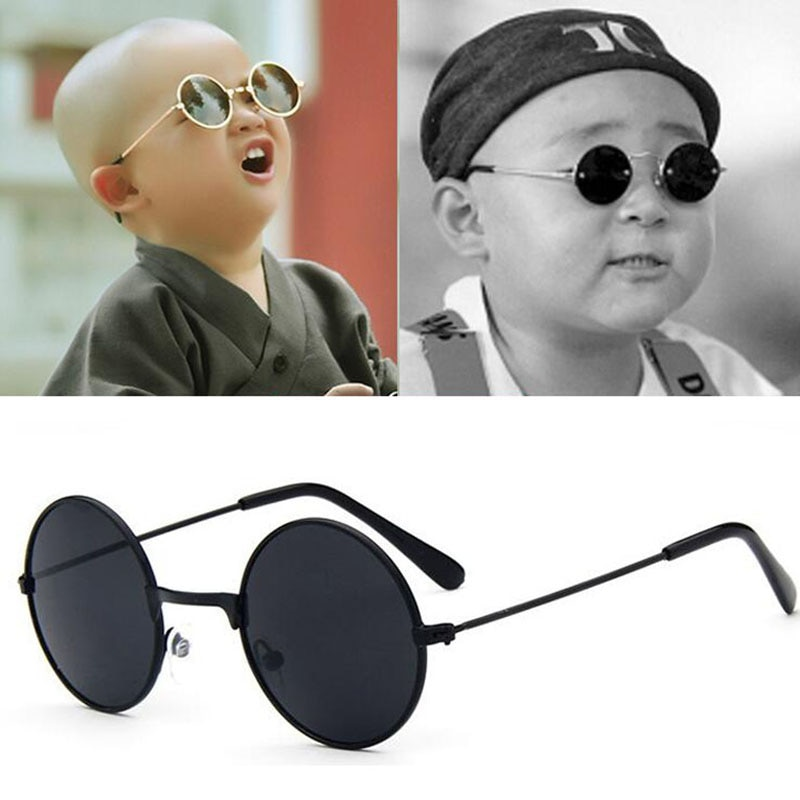 HOOLDW Vintage Small Round Kids Sunglasses Metal Frame Children Sun Glasses Boys Girls Baby UV400 Go