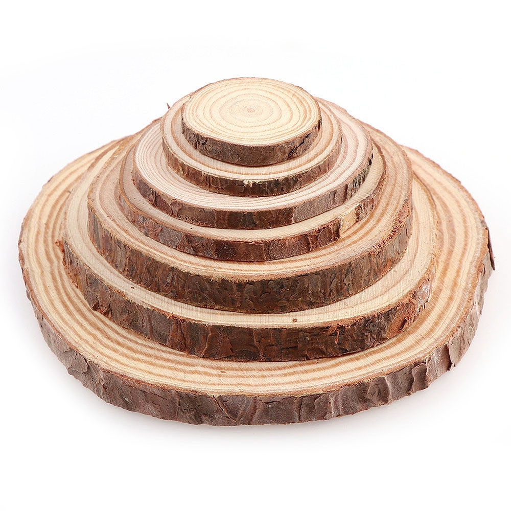Virutas de madera sin terminar de pino natural de 3-12cm de diámetro con tablero de madera de corteza DIY cuadros para manualidades tablero de dibujo de madera