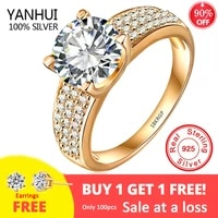 18k gold color silver 925 ring with 8mm 2 carat zirconia diamond wedding ring women fashion jewelry gift free sent earrings