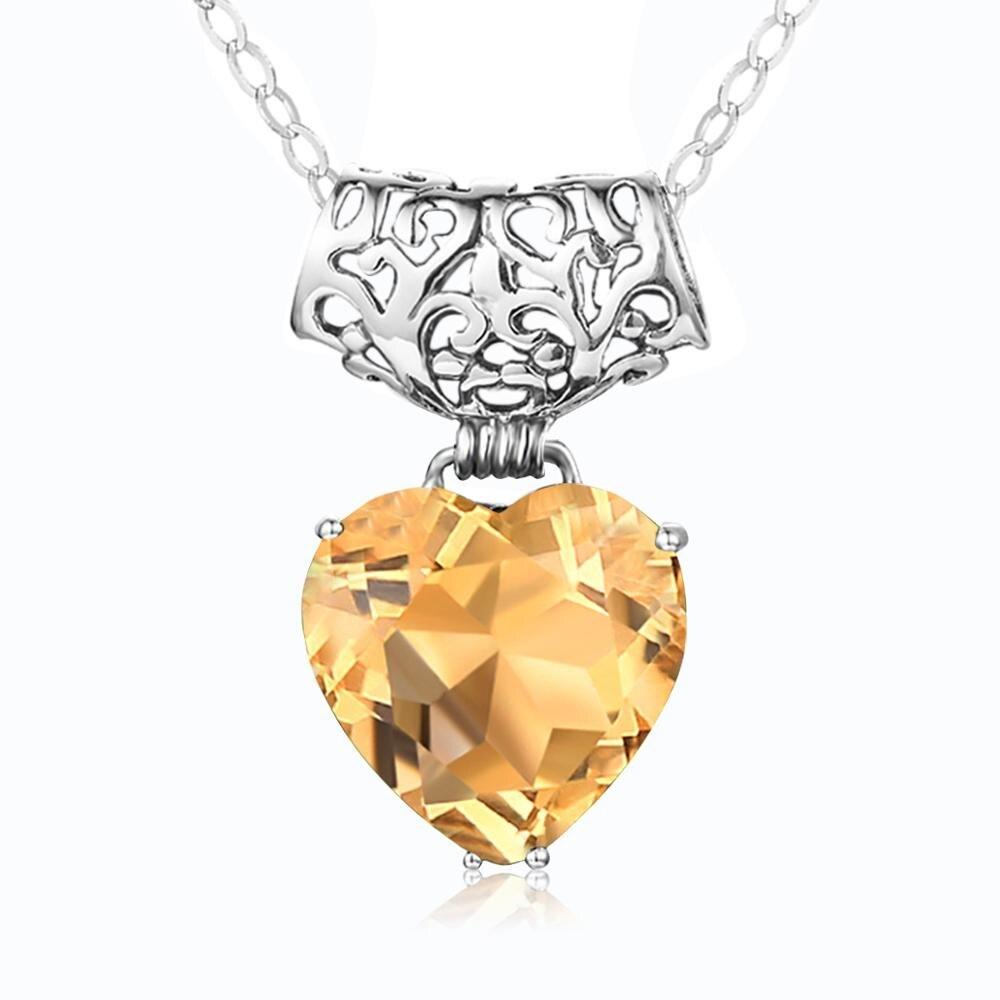 Szjinao pingente de prata para as mulheres genuínas 925 prata esterlina amarelo cristal pingentes coração na moda jóias finas presentes de casamento novo