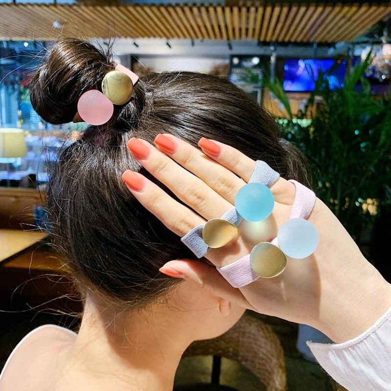 Feminino meninas faixas de cabelo bonito doce cor cristal redondo grânulos largo scrunchie rabo de cavalo titular elástico bandas de borracha acessórios para o cabelo