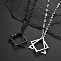 creative geometric square combination mens necklace fashion hip hop trendy men and women couple pendant jewelry wholesale