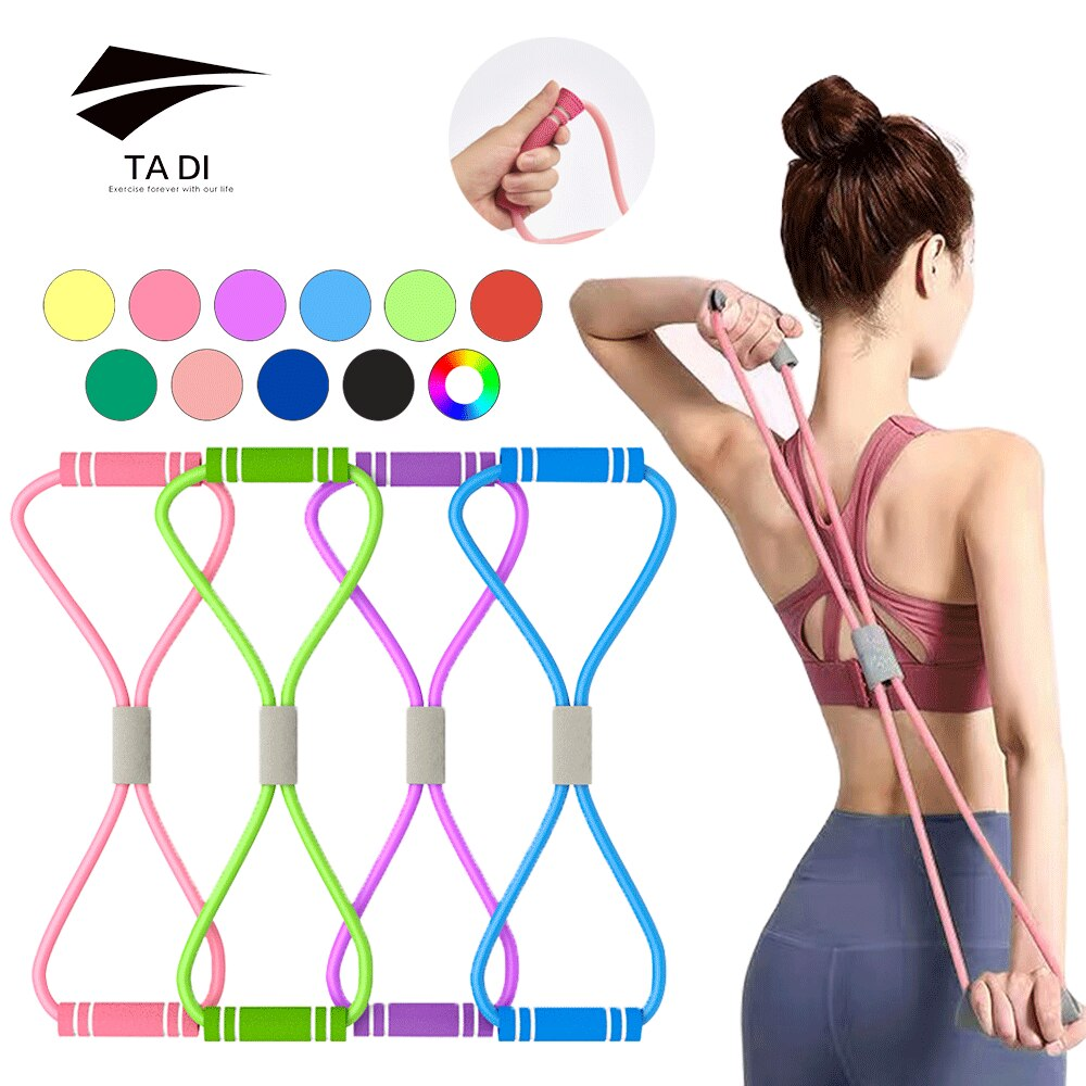 triceps training device push pull down rope muscle pull exercise workout equipment training bodybuilding fitness rope a2l5 Yoga Resistance Exercise Belt TPE Pull Rope 8 Word Fitness Chest Expansion Elastic Muscle Training Tension Rope Bands Equipment
